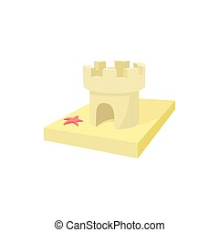 Sandcastle icon, cartoon style
