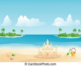 Sandcastle on a tropical beach - Sand castle on a tropical...