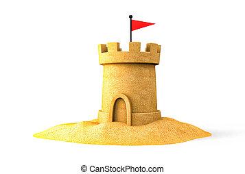 sandcastle, på, den, seaside., 3, illustration