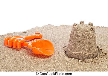sandcastle, râteau, pelle