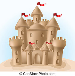 Sandcastle with little red flags on the beach
