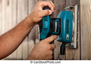 sander, houten, vibreren, oppervlakte, handen, gebruik, mannelijke