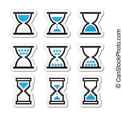 sandglass, ベクトル, 砂時計, アイコン