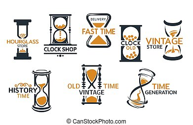 sandglass, 店, アイコン, 砂時計