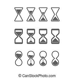 sandglass, hourglass, iconen