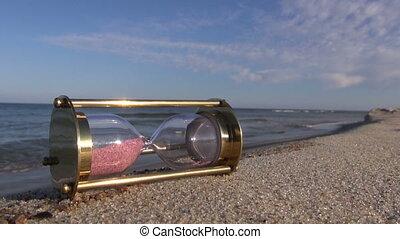 sandglass hourglass on sea beach
