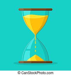 sandglass, icon., 砂時計, ベクトル, 時計