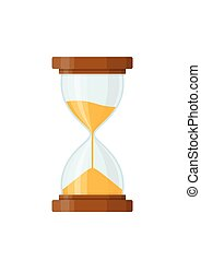 Sandglass icon isolated on white background. Time hourglass in flat style. Sandclock vector illustartion.