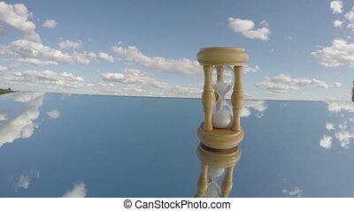 sandglass, nuages, miroir