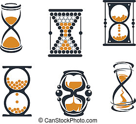 Sandglass symbols and icons for time concept anddesign