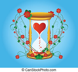 Sandglass to Valentine's Day with a flower pattern