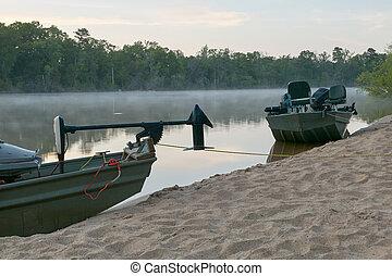 sandig, altamaha, fischerboote, flußufer