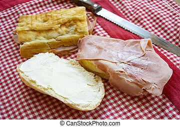 sandiwich with cooked ham and mayonnaise