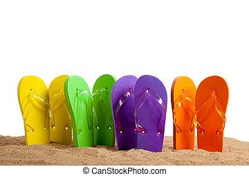 sandles, sandstrand, flip-flop, sandig, bunte