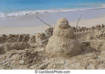 Sandman on a beach in Antigua Barbu