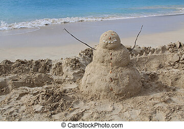 Sandman on a beach in Antigua Barbu