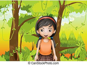 sando, mignon, girl, forêt, orange