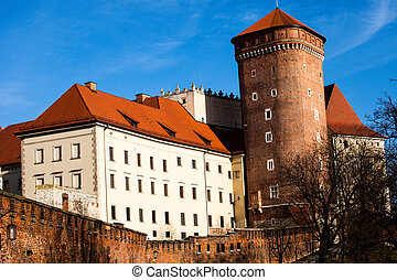 sandomierska, 中世, タワー, ポーランド, gothic, wawel, cracow, 城, senatorska