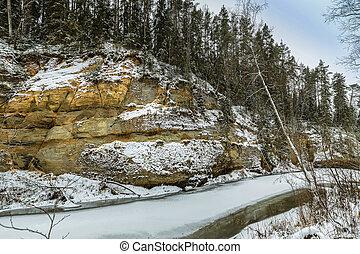 Sandstone cliffs in Gauja national park, Latvia - Sandstone...