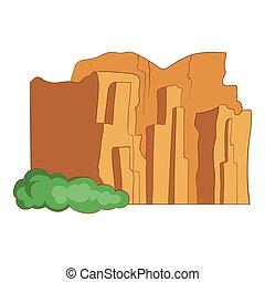 Sandstone cliffs, Talampaya National Park icon. Cartoon...
