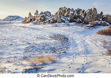 sandstone outcropping on prairie - Natural Fort, historical ...