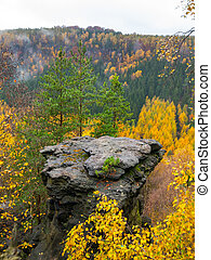 Sandstone rock formation in the middle of autumn forest