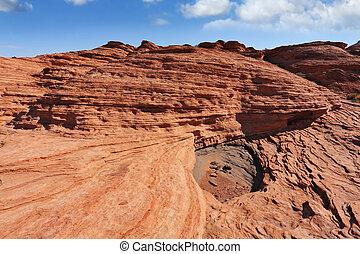 sandstone., sziklák, piros, színes, fantasztikus
