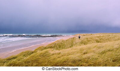 Sandstorm at Portnoo/Narin beach in County Donegal - Ireland...