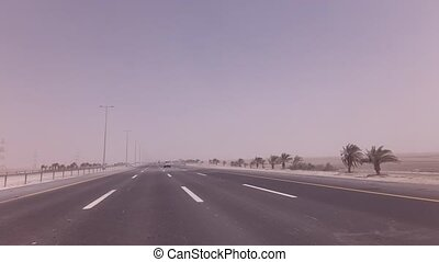 Sandstorm sweeps the sand on highway stock footage video - ...
