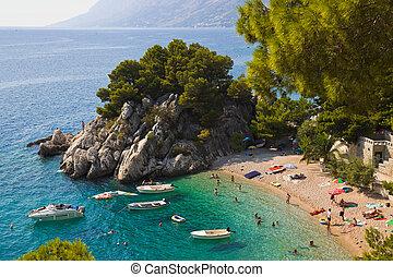 sandstrand, an, brela, kroatien