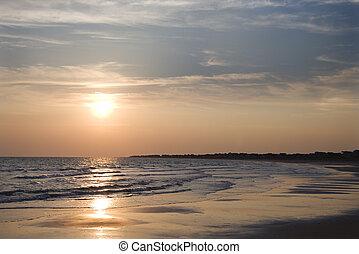 sandstrand, an, sunset.