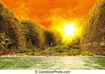 sandstrand, auf, insel, phi-phi, thailand