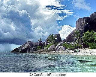 sandstrand, auf, seychellen