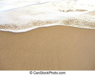 sandstrand, baden, schaum, uferlinie