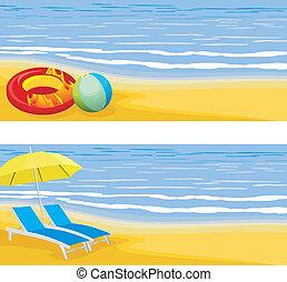 sandstrand, banner, leisure.