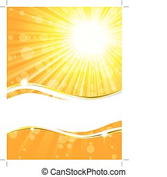 sandstrand, banner, sommerzeit