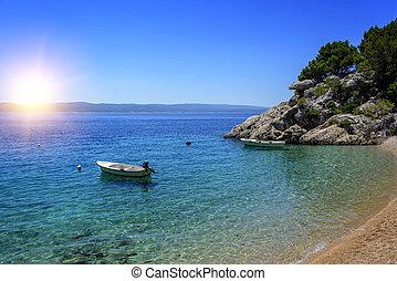 sandstrand, brela, makarska, riviera., croatia.