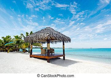 sandstrand, bungalows, auf, tropischer pazifik, wasserlandschaft, insel