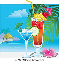 sandstrand, cocktails