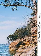 sandstrand, conningham, tasmanien, ansicht, ihr, küsten, schoenheit, australia, unberührt, rauh
