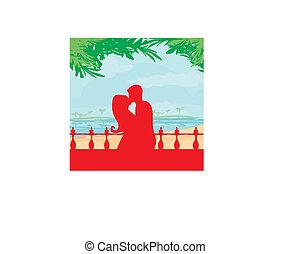 sandstrand, ehepaar, küßt