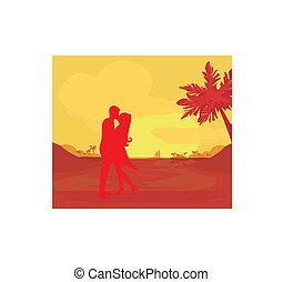 sandstrand, ehepaar, küßt, tropische