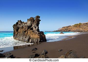 sandstrand, el, bollullo, schwarz, brauner, sand, und, aqua,...