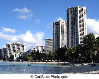 sandstrand, entlang, hotels, waikiki, hawaii