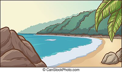 sandstrand, felsig