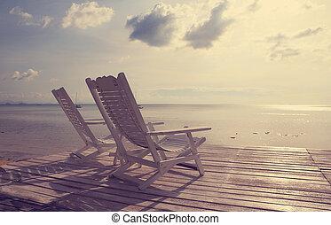 sandstrand, filter, flachdrehen, stuhl, hölzern, ...
