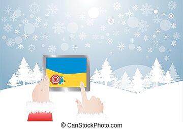 sandstrand, finger, claus, bild, sommer, santa, tablette, berühren