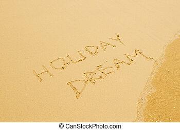 sandstrand, geschrieben, feiertag, traum, sandig