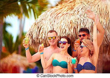 sandstrand, gruppe, sommer, tropische , spaß, party, feiertag, friends, haben, glücklich