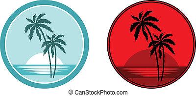 sandstrand, handfläche, bäume., tropische